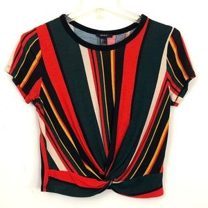 Forever 21 Striped Twist Front Crop Top